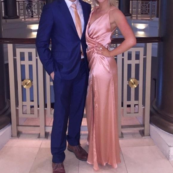 ASOS Rose Gold Satin Thigh High Slit Maxi Dress